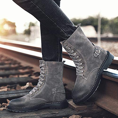 Leather Rise Sport Boots Shoes Tattico Esercito Escursionismo Up Outdoor Brown Grey Black Desert Militare High Camping Uomini Boots Grey Combattimento Lace Lavoro zAwZTtaaqg