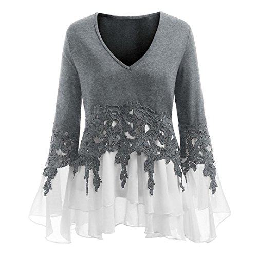 Womens Long Sleeve Plus Size Casual Applique Flowy Chiffon V-Neck Blouse Tops Gray ()