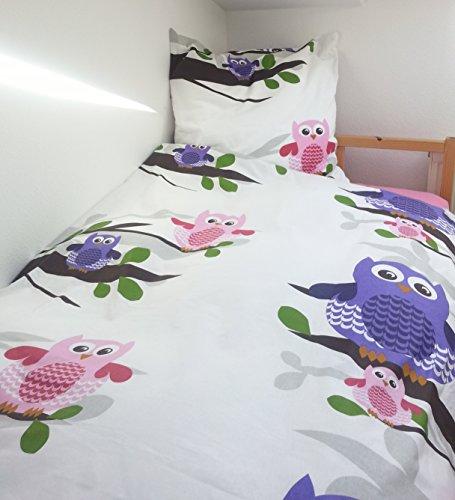 Bettwäsche Garnitur Fashion Eule Eulen Baumwolle 135 x 200 cm und 80 x 80 cm Bezug - ÖKOTEX Standard 100