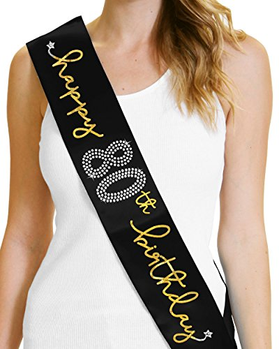 Happy 80th Birthday Gold Foil Sash 80th Birthday Party Decorations (80th Birthday Sash)