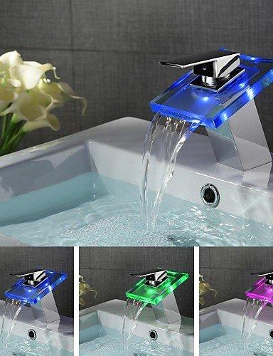 Zeitgenössische FarbwechsÖl LED ein Loch Einhand-WasserfaÖl Waschbecken Wasserhahn