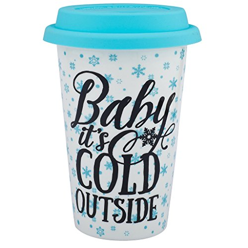 Lux Accessories Baby It's Cold Outside Snowflake Happy Holidays Christmas Sippy Hot Coffee Drink Cold 8OZ ()