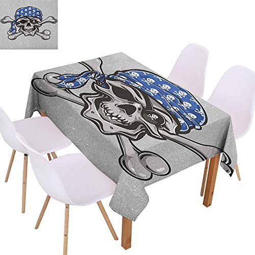 Marilec Wrinkle Resistant Tablecloth Skull Scallywag Pirate Dead Head Grunge Horror Icon Evil Sailor Crossed Bones Kerchief Soft and Smooth Surface W70 xL84 Blue Grey Black