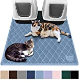 Gorilla Grip Original Premium Durable Multiple Cat Litter Mat, 47x35, XL Jumbo, No Phthalate, Water Resistant, Traps Litter from Box and Cats, Scatter Control, Mats Soft on Kitty Paws, Light Blue