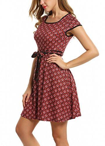 bb26c798c909b7 ... Partykleid Kleid Sommerkleid Rot Blumen Gürtel Elegant A-linie  Jerseykleid Damen Vintage Zeagoo Mit ...