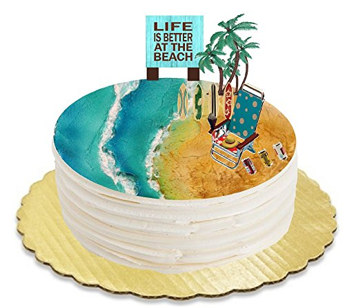 Price comparison product image Life is Better at the Beach Surf Boards Beach Chair Beer Cans and Palm Trees Plaque Cake Decoration Topper