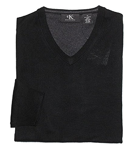 Calvin Klein Men's V-Neck Merino Wool Sweater (Medium, Black)