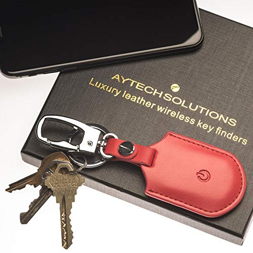 AYTECH SOLUTIONS Key Finder Locator, iOS Only, Luxury Leather Design, Bluetooth Smart Tracker, Wireless Anti-Lost Alarm, 2019 Edition, Pet and Wallet Finder for Lost Items (Red, 1 Pack)