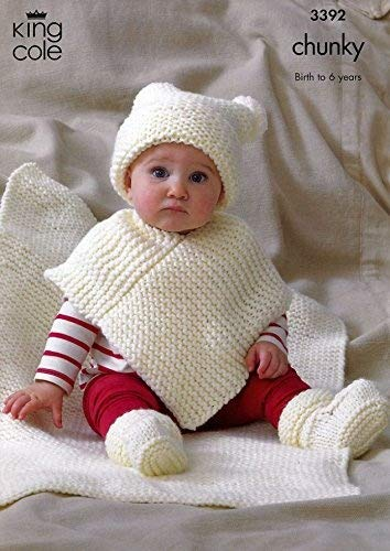 King Cole Baby Hat Poncho Booties Blanket Comfort Chunky