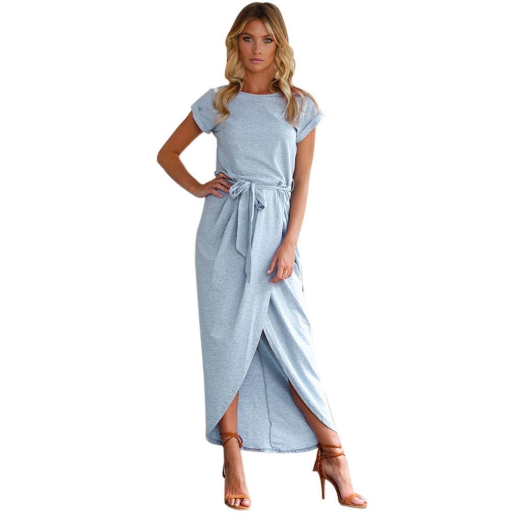 Ansenesna Kleid Damen Sommer Lang Elegant Partykleid Vorne Kurz Hinten Lang Asymmetrisch Maxi Sommerkleider