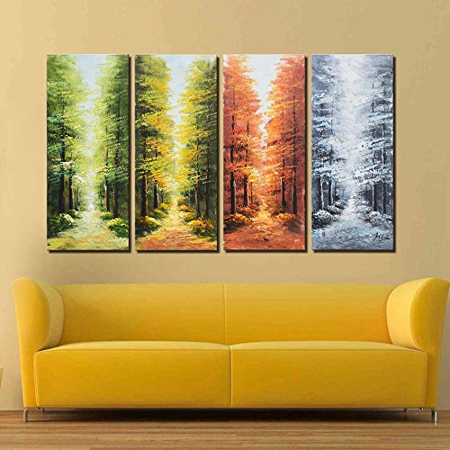 Bed Set Hand Painted (ARTLAND Hand-painted 28x48-inch 'Go Through the Seasons'4-piece Gallery-wrapped Landscape Oil Painting on Canvas Wall Art Set)