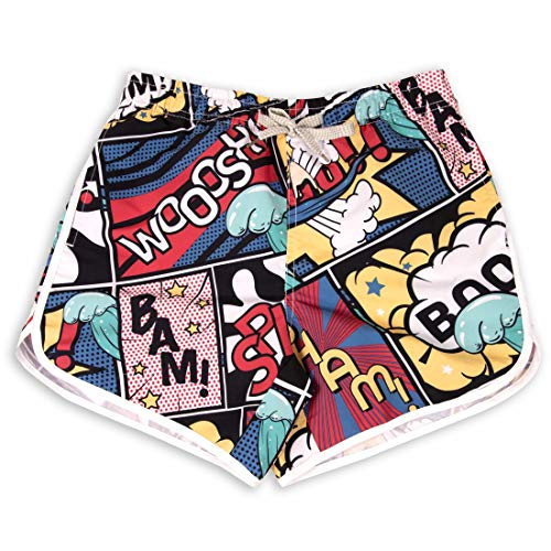 Prefer To Life Womens for Board Shorts Summer Slim Fit, Couple wear Quick Drying Thin and Light Swim Trunks (Cartoon surf Comic, ()