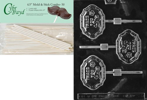 Cybrtrayd 45St50-M026 Thank You Lolly Miscellaneous Chocolate Candy Mold with 50-Pack 4.5-Inch Lollipop Sticks