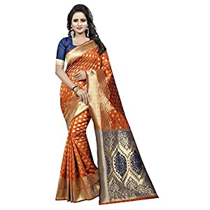 Maahik Women's Kanchipuram Cotton Silk Saree With Blouse Piece (VR_SWMK1310_Orange)