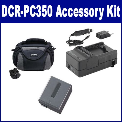 Sony DCR-PC350 Camcorder Accessory Kit includes: SDC-26 Case, SDM-102 Charger, SDNPFF70 Battery (Sdm 102 Charger)