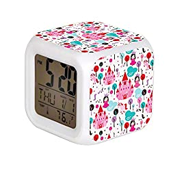 ALPERT Child 7 Color Change LED Digital Alarm Clock with Date Alarm Thermometer Desktop Table Cube Alarm Clock Night Glowing Flash Watch Toys Kids Princess Castle and Unicorn