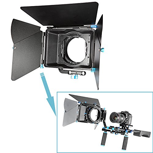 [Neewer® Aluminum Alloy Swing-away Design Matte Box with Filter Tray,Fit 15mm Rail Rod Rig,for Nikon Canon Sony Fujifilm Olympus DSLR Camera,Camcorder Video Movie Film Making System] (Alloy Matte)