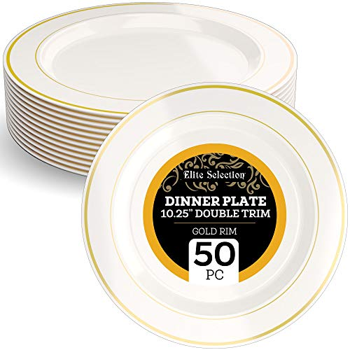 Disposable Plastic Dinner Plates - 50 Pack Hard Round 10.25