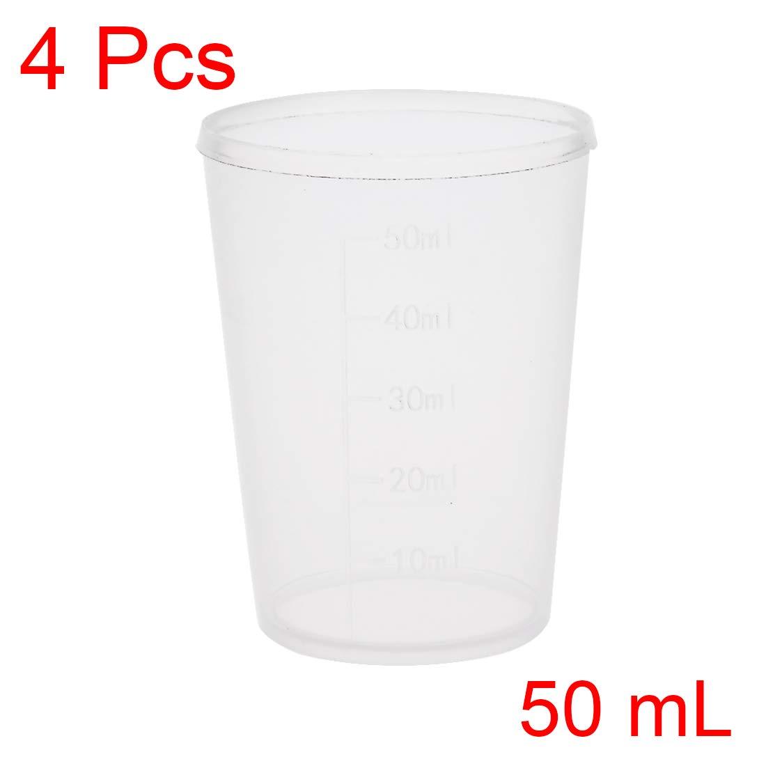 sourcing map 4Stk Messbecher Labor PP Kunststoff Graduierte Becherglas 50 ml DE de