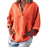 Tops for Womens Long Sleeve,Casual V-Neck Cotton Linen Shirts Boho Fashion Ladies Baggy Solid Blouse Tee Shirt Tops Orange