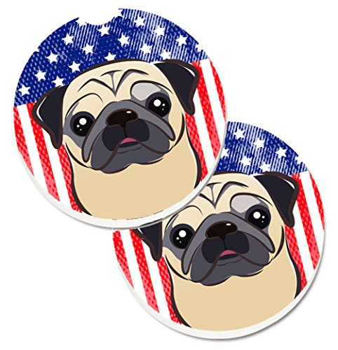 Pug Coaster (Caroline's Treasures American Flag & Fawn Pug Set of 2 Cup Holder Car Coasters BB2192CARC, 2.56, Multicolor)