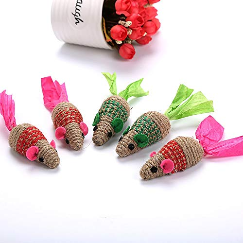 Oddalsail Pet Cat Toy Sisal Mouse Yellow Sisal Numb Ring Paper Tail Claw Red