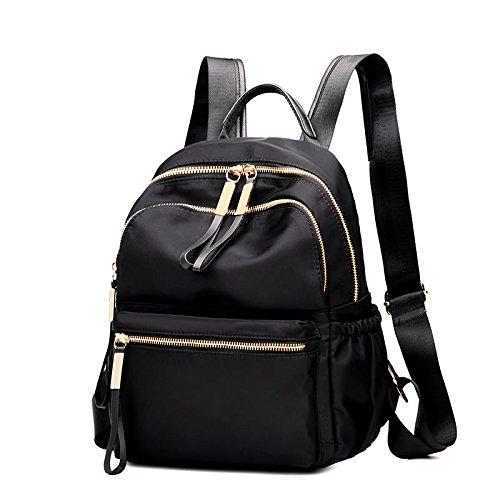 Mochila mochila de tela de nylon Oxford School Bag todos-match wind negro PU Black Oxford cloth
