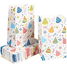 Paper Goody Bags for Kids - 36 Pack Party Favor Bags for Birthday Party Goodies, Classroom Party Treats, Recyclable Paper Treat Bags, 5.1 x 8.75 x 3.25 Inches