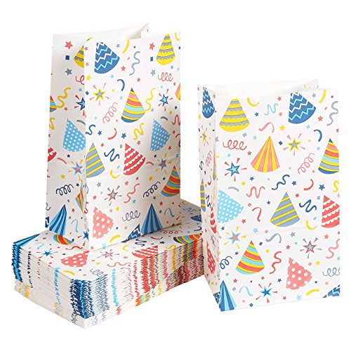 Paper Goody Bags for Kids - 36 Pack Party Favor Bags for Birthday Party Goodies, Classroom Party Treats, Recyclable Paper Treat Bags, 5.1 x 8.75 x 3.25 -