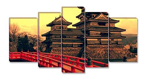 SmartWallArt - City Landscape Paintings Wall Art Decor Matsumoto Castle Japan 5 panels Picture Print on Canvas Painting for Bedroom Home Decor (Castle Canvas Mural)