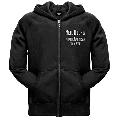 Neil Young - Mens North America 08 Zip Hoodie Large Black - 08 Zip Hoodie Sweatshirt