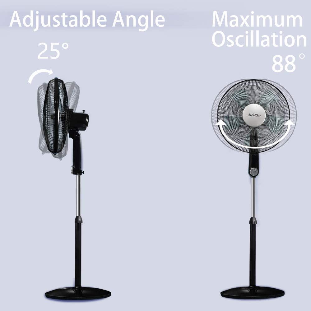 Dise/ño de Control Giratorio Plateado de 3 Velocidades Oscilaci/ón de 88 /° y altura de Ventilador Ajustable de 1.3M AirArtDeco Ventilador de Pedestal de Pie Oscilante de 16 Pulgadas