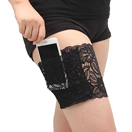 Cute Doe Costume (Be Nice Women Lace Socks Non Slip Thigh Mobile Phone Bag Ladies Secured Pocket Garters (S(20.7