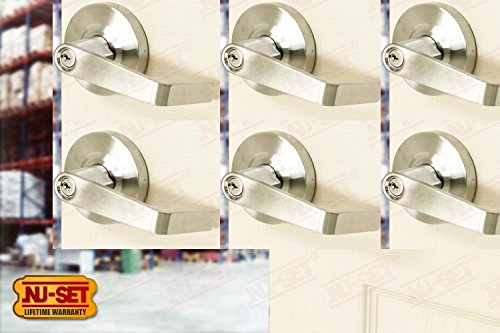 6 Pieces of NuSet Kingston Commercial Grade 2 Entry Door Lever (Satin Chrome), Schlage Keyway - Satin Chrome Estate Parts