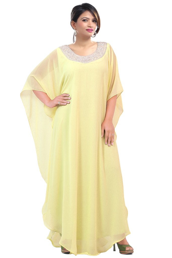 Dubai Very Fancy Kaftan Luxury Crystal Beaded Caftan Abaya Wedding Dress (XXXXL Yellow)