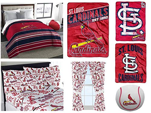 MLB St. Louis Cardinals 11pc Bedding Set: Includes (1) Twin/Full Comforter, (1) Full Flat Sheet, (1) Full Flat Sheet, (2) Pillowcases, (1) Blanket, (2) Throws, (1) Toss Pillow and (2) Curtain Panels