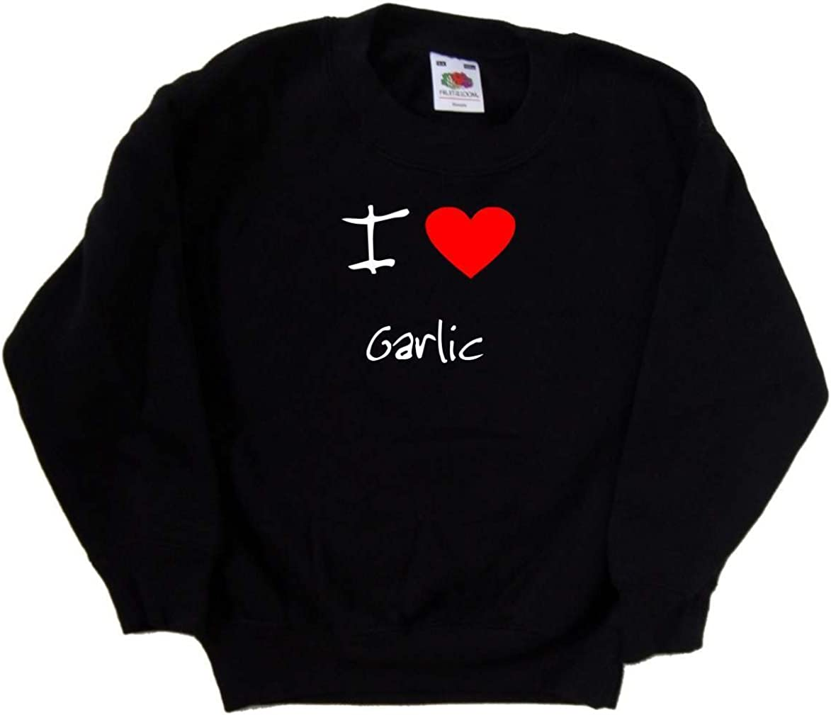 I Love Heart Garlic Black Kids Sweatshirt