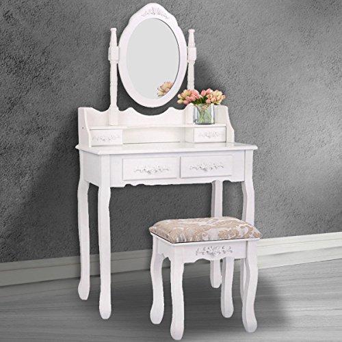 White Vanity Wood Makeup Dressing Table Stool Set Bathroom Mirror 4 Drawer by Tobbi