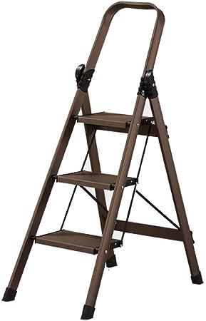 XEWNEG Acero Inoxidable Plegable del hogar Escalera, Gruesa Antideslizante Cubierta de múltiples Funciones Portable Escaleras Ingeniería (Color : A): Amazon.es: Hogar
