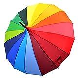 Kung Fu Smith Women Vintage Polka Dots Travel Stick Rain Pogoda Parasol Umbrella (Rainbow)