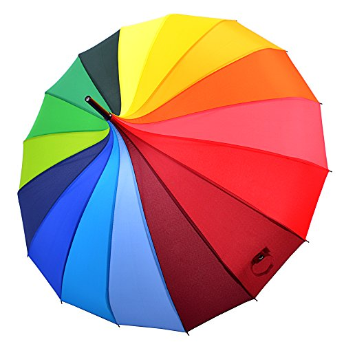 Kung Fu Smith Women Vintage Polka Dots Travel Stick Rain Pogoda Parasol Umbrella (Rainbow) by Kung Fu Smith