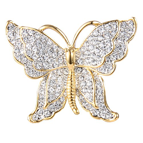 Brooch Dress Butterfly (EVER FAITH Gold-Tone Austrian Crystal Dazzling Double Layer Wing Butterfly Brooch Pin Clear)