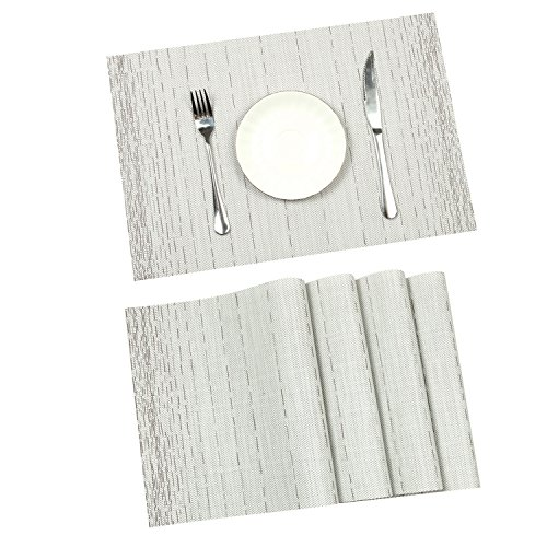 Pauwer Placemats Set of 8 for Dining Table Washable Woven Vinyl Placemat Non-Slip Heat Resistant Kitchen Table Mats Easy to Clean