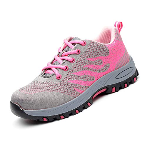 UPSTONE Work Shoes for Men, Indestructible Steel Toe Battlefield Shoes Work Safety Womens Shoes Breathable Construction Sneakers, 113 Pink 37