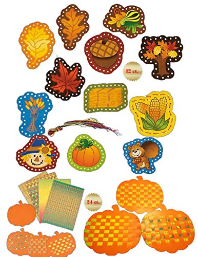 FE Fine Motor Activities for Children Age 4 - 6 Lacing Cards and Pumpkin Weaving Mats