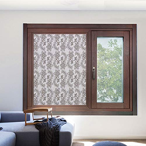 Decorative Privacy Window Film,No Glue Decor Static Cling Glass Sticker,Window Tint for Home or Office(Living Room/Bathroom/Kitchen),23.6 W x 35.4 L inches,Taupe,Russian Nature Flora Motif Dotted Cu