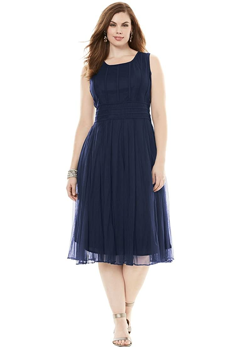 Roamans Women's Plus Size Mesh Dress