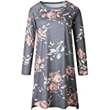 Womens Dress,FUNIC Long Sleeve O Neck Floral Printed Dress Autumn Short Dress (L, Gray)