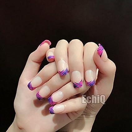 echiq Nude Beige francés uñas postizas consejos rosa morado con azul purpurina Squoval Full Artificial Falso