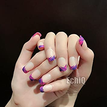 echiq Nude Beige francés uñas postizas consejos rosa morado con azul purpurina Squoval Full Artificial Falso uñas para oficina en casa: Amazon.es: Belleza